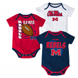 "Mississippi Ole Miss Rebels ""3 Point Spread"" Newborn 3 Pack Bodysuit Creeper Set"