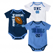 North Carolina Tarheels NCAA 3 Point Spread Newborn 3 Pack Bodysuit Creeper Set