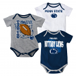 Penn State Nittany Lions NCAA 3 Point Spread Newborn 3 Pack Bodysuit Creeper Set