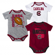 South Carolina Gamecocks NCAA 3 Point Spread Newborn 3 Pack Bodysuit Creeper Set