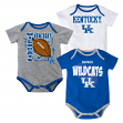 "Kentucky Wildcats NCAA ""3 Point Spread"" Infant 3 Pack Bodysuit Creeper Set"