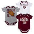 "Texas A&M Aggies NCAA ""3 Point Spread"" Infant 3 Pack Bodysuit Creeper Set"