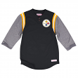 "Pittsburgh Steelers Mitchell & Ness NFL ""Rushing Play"" 3/4 Sleeve Henley Shirt"