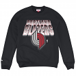 Portland Trail Blazers Mitchell & Ness NBA Block & Blur Crew Sweatshirt - Black