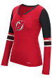"New Jersey Devils Women's NHL Reebok ""Face-Off"" Tri-Blend Henley L/S Shirt"