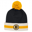 "Boston Bruins CCM NHL ""Retro Logo"" Striped Cuff Knit Hat with Pom"