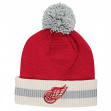 """Detroit Red Wings CCM NHL """"Retro Logo"""" Striped Cuff Knit Hat with Pom"""