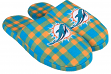 Miami Dolphins NFL Men's Plaid Flannel Slide Slippers