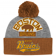 "Boston Bruins Mitchell & Ness NHL ""Tailsweep"" Retro Logo Cuffed Pom Knit Hat"