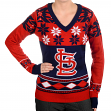 "St. Louis Cardinals Women's MLB ""Big Logo"" Ugly V-Neck Sweater"