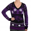 "Baltimore Ravens Women's NFL ""Big Logo"" Ugly V-Neck Sweater"