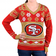 "San Francisco 49ers Women's NFL ""Big Logo"" Ugly V-Neck Sweater"