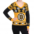 "Boston Bruins Women's NHL ""Big Logo"" Ugly V-Neck Sweater"