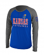 "Kansas Jayhawks NCAA ""Spotter"" Long Sleeve Dual Blend Men's Henley Shirt"