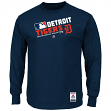 "Detroit Tigers Majestic MLB Authentic ""Team Choice"" On-Field L/S T-Shirt"