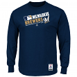 "Milwaukee Brewers Majestic MLB Authentic ""Team Choice"" On-Field L/S T-Shirt"