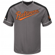 "Baltimore Orioles Majestic MLB ""Dominant"" V-Neck Men's Gray Fashion Jersey"