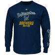 "Milwaukee Brewers Majestic MLB ""Flawless"" Men's Long Sleeve T-Shirt - Navy"