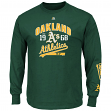 "Oakland Athletics Majestic MLB ""Flawless"" Men's Long Sleeve T-Shirt - Green"