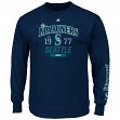 "Seattle Mariners Majestic MLB ""Flawless"" Men's Long Sleeve T-Shirt - Navy"