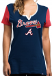 "Atlanta Braves Women's Majestic MLB ""Time to Shine"" Scoop Neck Fashion Shirt"