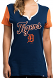 "Detroit Tigers Women's Majestic MLB ""Time to Shine"" Scoop Neck Fashion Shirt"