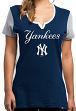 "New York Yankees Women's Majestic MLB ""Time to Shine"" Scoop Neck Fashion Shirt"