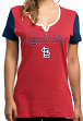 St. Louis Cardinals Women's Majestic MLB Time to Shine Scoop Neck Fashion Shirt