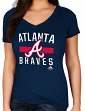 "Atlanta Braves Women's Majestic MLB ""One Game"" V-neck Fashion Shirt"