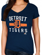 "Detroit Tigers Women's Majestic MLB ""One Game"" V-neck Fashion Shirt"