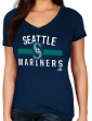 "Seattle Mariners Women's Majestic MLB ""One Game"" V-neck Fashion Shirt"