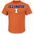 "Illinois Fighting Illini Majestic NCAA ""Workmark & Logo"" Men's S/S T-Shirt"