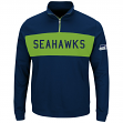 "Seattle Seahawks Majestic NFL ""Goal Line"" Men's 1/4 Zip Lightweight Sweatshirt"