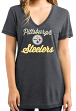 "Pittsburgh Steelers Women's Majestic NFL ""Day Game"" Burnout V-neck Shirt"