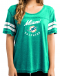 "Miami Dolphins Women's Majestic NFL ""Superstar"" Burnout Open Neck Boxy Shirt"