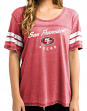 San Francisco 49ers Women's Majestic NFL Superstar Burnout Open Neck Boxy Shirt