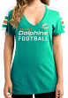 """Miami Dolphins Women's Majestic NFL """"Pride Playing"""" V-neck Fashion Top"""