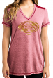 "San Francisco 49ers Women's Majestic NFL ""Bright Lights"" V-neck Fashion Top"
