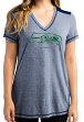 "Seattle Seahawks Women's Majestic NFL ""Bright Lights"" V-neck Fashion Top"