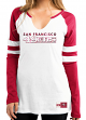 "San Francisco 49ers Women's Majestic NFL ""Coin Toss"" Long Sleeve Raglan Shirt"