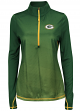 "Green Bay Packers Women's Majestic NFL ""Play"" 1/2 Zip Synthetic Pullover Shirt"