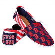 Boston Red Sox Women's MLB Slip On Canvas Stripe Shoe Slippers