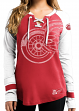 """Detroit Red Wings Women's NHL Majestic """"Hip Check"""" Lace Up V-Neck Shirt"""