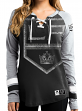 "Los Angeles Kings Women's NHL Majestic ""Hip Check"" Lace Up V-Neck Shirt"