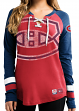 "Montreal Canadiens Women's NHL Majestic ""Hip Check"" Lace Up V-Neck Shirt"