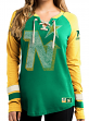 "Minnesota North Stars Women's Majestic ""Vintage Hip Check"" Lace Up V-Neck Shirt"