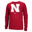 "Nebraska Cornhuskers Adidas NCAA ""School Logo"" Men's Long Sleeve T-shirt"