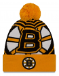 "Boston Bruins New Era NHL ""Logo Whiz 2"" Cuffed Knit Hat with Pom"