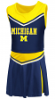 """Michigan Wolverines NCAA Toddler """"Aerial"""" 2 Piece Set Cheerleader Outfit"""