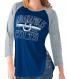 "Indianapolis Colts Women's G-III NFL ""Hang Time"" Dual blend 3/4 Sleeve T-shirt"